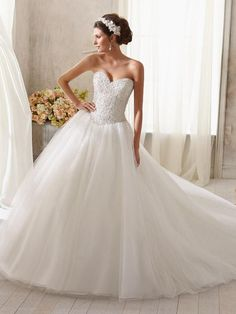 2015 Style A-line Sweetheart Sweep/Brush Train Organza Wedding Dresses #DS159