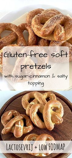 Delicious gluten-free soft pretzels! With a sugar-cinnamon topping and with a salt topping. Gluten Free Sweets, Gluten Free Cooking, Vegan Gluten Free, Cooking Recipes, Ic Recipes, Dessert Recipes, Fodmap Recipes, Dairy Free Recipes, Vegetarian