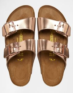 Rose Gold Arizona Birkenstocks. (Didn't buy for $164 - the iconic)