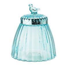 Bocal en verre bleu avec oiseau LISBETH DAHL - HH20115