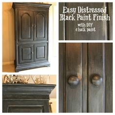 How to do shabby in black. This funny blogger painted the heavy armoire where it stood! Great job!