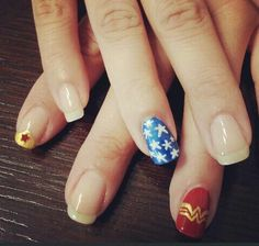 My Wonder Nails! #Wonderwoman #nailart #diy