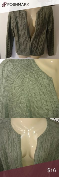 L.L.BEAN CHUNKY CABLE SWEATER Army green Design as Shown Tag out but will fit Med / Lg  Ask for any measurements LL Bean Sweaters Cardigans