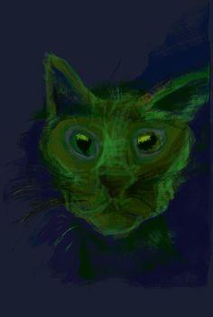 Sad green cat