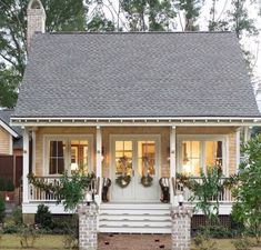 This is a large house, but the entry-front elevation and roof would work well for a small/tiny house - Small Tiny Houses Small Cottage Homes, Small Tiny House, Small Cottages, Cabins And Cottages, Tiny House Living, Small House Plans, Coastal Cottage, Cottage Home Plans, Small Cottage Plans