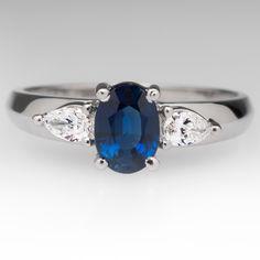 .90 Carat Blue Sapphire & Pear Diamond Three Stone Ring 18K