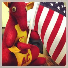 Here's to the red, white and 'roo!  #roospawn @Austin College Austin College, Colleges, Kangaroo, Dinosaur Stuffed Animal, Texas, Football, Awesome, Colors, Red