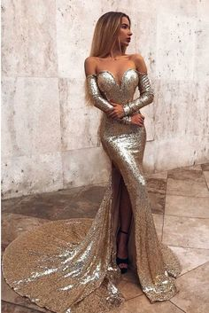 Mermaid Long Split Abendkleid Gold Pailletten Abendkleid Mit Ärmeln You are in the right place about Evening Dress 2020 Here we offer you the most beautiful pictures about the Evening Dress videos you Backless Mermaid Prom Dresses, Split Prom Dresses, Cheap Prom Dresses, Formal Dresses, Elegant Dresses, Long Dresses, Sexy Dresses, Beautiful Dresses, Summer Dresses