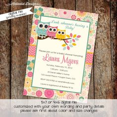 owl baby shower invitations with owls, turquoise pink and yellow, digital, printable file (item1352)
