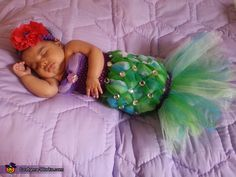 Courtney: My daughter Aricela Jade (2 1/2 months) was my version of the Little Mermaid this Halloween. This is a homemade costume with 4 types of tulle varying from purples to...