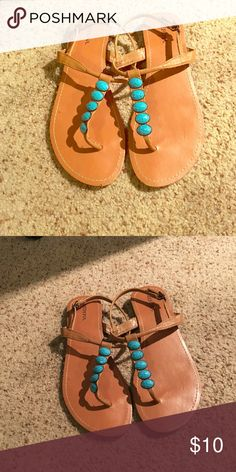 Merona Turquoise Beaded Sandals $10 Merona Turquoise Beaded Sandals!! Size 9 $10 Merona Shoes Sandals