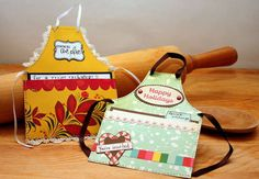 Adorable apron invites....see the recipes in the apron pocket  Follow links to tutorial!