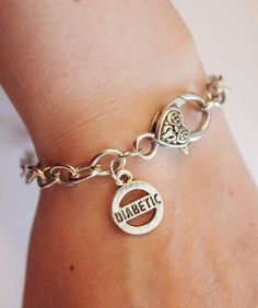 Diabetic charm bracelet, silver medical alert bracelet for diabetes