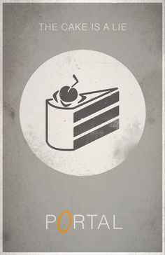Portal Poster The Cake Is A Lie by WestGraphics on Etsy