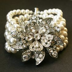 Vintage Style Bridal Bracelet, Ivory White Pearl Wedding Bracelet, Victorian Wedding Bridal Jewelry, Antiqued Silver Bracelet, MIRABELLE. $124.00, via Etsy.