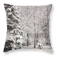 Winter Snow Throw Pillow Snow Covered by Gwengibsonphotograph