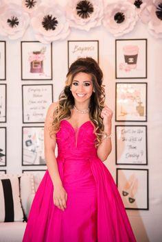 chanel bridal shower, decor, ideas, wedding, decor, idea, pink, jovani gown, bridal shower dress, attire, bride to be, wedding, detachable skirt, evening gown, fuchsia pink, Chanel bridal shower   www.baysstylediary.com