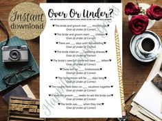Over or Under, Bridal Shower Games, Printable Bridal Shower Games, Simple Bridal Shower Games, Weddi Simple Bridal Shower, Bridal Shower Games, L Love You, Diy Games, Love Yourself First, Cook At Home, Groom, Templates, Handmade Gifts