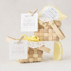 Simply too cute to be believed, these mini woven picnic baskets are bound to inspire squeals of glee. Perfect as favor boxes for an outdoor wedding or bridal shower--though you'll want to use them for every occasion under the sun! Unusual Wedding Favours, Creative Wedding Gifts, Candy Wedding Favors, Wedding Shower Favors, Wedding Favors Cheap, Unique Weddings, Party Favors, Wedding Ideas, Wedding Colors
