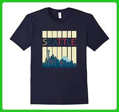 Mens Vintage Style Seattle Skyline T Shirt Retro Design Color Medium Navy - Retro shirts (*Amazon Partner-Link)