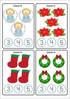 Christmas Math Centers for Kindergarten 87 pages. A page from the unit: Count and Clip Cards. Christmas Worksheets, Christmas Math, Christmas Activities For Kids, Preschool Christmas, Noel Christmas, Christmas Crafts, Kindergarten Math Activities, Math Literacy, Preschool Activities