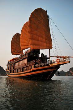 Sailing on a traditional Junk boat in Halong Bay, Vietnam Laos, Vietnam Voyage, Vietnam Travel, Junk Ship, Thailand, Beautiful Vietnam, Old Sailing Ships, Ha Long Bay, Tall Ships