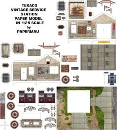 Here is the Texaco Vintage Service Station Paper Model In 1/25 scale, ready to download! The model occupies four sheets of paper and anoth...