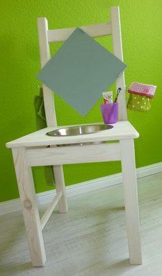 Kinderwaschtisch selbst gemacht - Frau Käferin näht Diy For Kids, Stool, Sweet Home, Homemade, Furniture, Home Decor, Alter, Kindergarten, Garage
