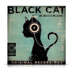 BLACK CAT records original graphic illustration di geministudio
