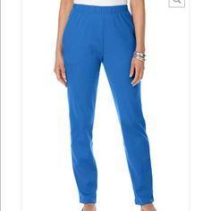 "Plus size 2X Women's soft knit pant These classic plus size pants are sure to be a wardrobe staple  This straight leg pant has a flattering cling-free fit, with plenty of room allowing you to feel fabulous and move with confidence Classically fits right above the waist Pull-on full elastic waist provides effortless fit Side seam pockets are cleverly designed for style and structure Feel confident in a 29"" inseam Average fits 5'4"" to 5'7"" Polyester/cotton interlock Machine was for easy care…"