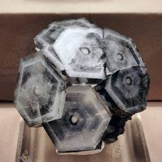 Hexagonal calcite crystal formations from the Fozichong mine, Guangxi Province, China. 2018 Tucson Mineral Show.