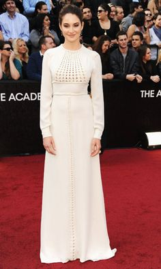 Shailene Woodley in winter white  Valentino #oscars