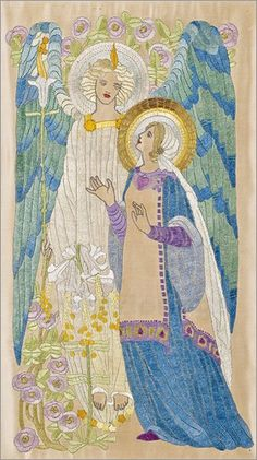 poster The Annunciation, Glasgow school embroidery, c.1910