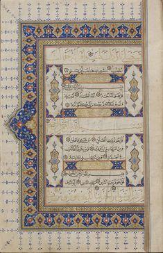 Manuscript of the Qur'an (Complete); third quarter of century Shiraz/Safavid. Medieval Manuscript, Medieval Art, Illuminated Manuscript, African Symbols, Persian Girls, Islamic Art Calligraphy, Antique Books, 16th Century, Quran