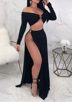 0ff771575f Black Cut Out Side Slit Draped Off Shoulder Beckett Clubwear Party Maxi  Dress