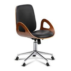Sitting in the office all day at the computer or desk needn't be a chore when you are perched upon this luxuriously comfortable office chair. Featuring a high back and plush padded PU leather seat, this retro inspired wing sided office chair will look jus Wooden Office Chair, Black Office Chair, Home Office Chairs, Office Furniture, Black Furniture, Bar Stool Chairs, Cool Chairs, Desk Chair, Brown Accent Chair
