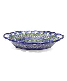 This Blue Daisy Perforated Azure Handle Platter is perfect! #zulilyfinds