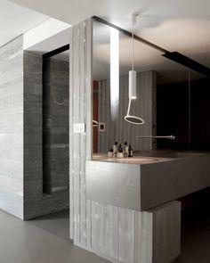 :: BATHROOMS :: DETAILS :: Photo Credit Source: © Vincent Leroux / tempsmachine, Chalet Beranger / Noé Duchaufour-Lawrance. Lovely colour palette of warm gray with white and accent of wood. #details #bathrooms