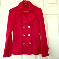 Red coat with gold buttons Worn and loved still in good condition! Forever 21 Jackets & Coats