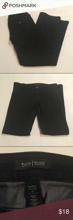 White House black market jeans Faded black skinny flare jeans. Very good used condition. Size 6S. White House Black Market Jeans Flare & Wide Leg