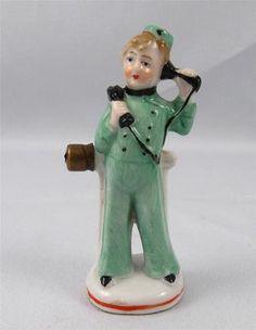 Porcelain Half Doll Related German Bellhop w Telephone | eBay