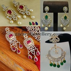 Jewellery Designs: Changeable Stones Diamond Earrings