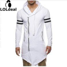2017 Fashion New man black gery white Cloak Hooded Male printing Streetwear Hip Hop Long Hoodies Pullover  Men Outerwear 2XL