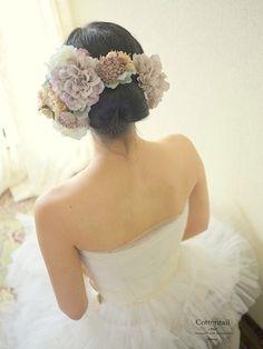 薄紫のダリア髪飾り