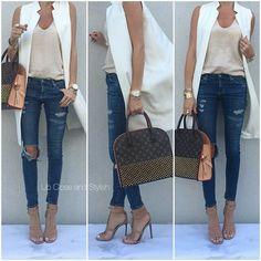 Zara tank and sleeveless coat, AG denim Gucci sandals & bag. Long Vest Outfit, Vest Outfits, Casual Outfits, Cute Outfits, Fashion Outfits, Womens Fashion, Ärmelloser Mantel, Bon Look, Sleeveless Coat