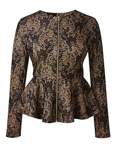 AX Paris Bonded Lace Peplum Jacket