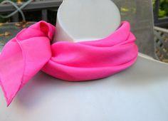 Vintage Pink Silk Scarf Shocking Pink Silk by GrannysBottomDrawer, SOLD!