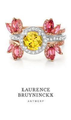 Cloris • Terra: this feminine, nature-inspired ring stack features a round-cut yellow beryl in the center stone ring, with pink sapphire pavé set bands and pink tourmaline accent stones. #interchangeable #ring #gemstone #jewelry #fashion #stackingrings
