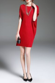 Eveda.cc Red Batwing Sleeve Mini Shift Dress | Mini Dresses at DEZZAL Click on picture to purchase!