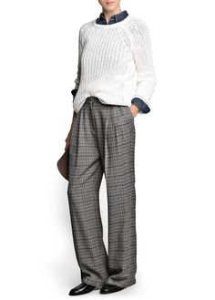 Prince of wales palazzo trousers - Women Outfits Otoño, Urban Outfits, Stylish Outfits, Fashion Outfits, Stylish Clothes, Baggy Pants, Slouchy Pants, 50 Y Fabuloso, Outfits